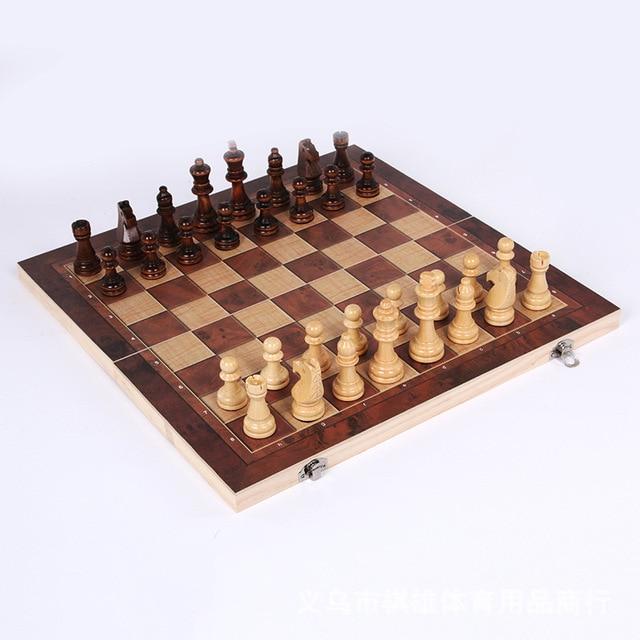 3-en-1 fonction haute qualité en bois échecs , dames backgammon ensemble jeu de société pliable et portable 2