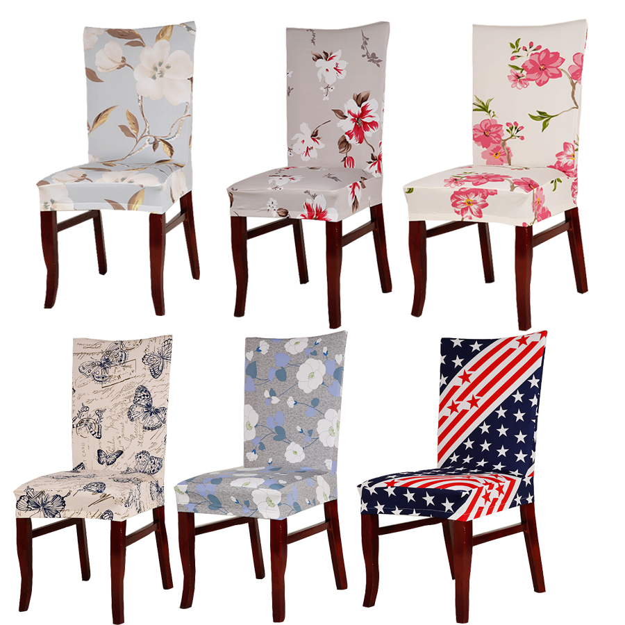 Table & Sofa Linens Durable Spandex Polyester Universal Stretch Seat Cover Vintage Floral Butterfly Colored Stars Pattern Dining Party Chair Covers