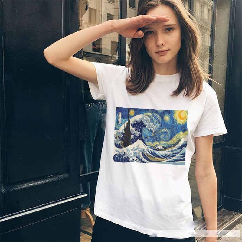La Notte Stellata Stampa Harajuku Donne della Maglietta di Estate Vogue Bianco O-Collo Manica Corta T shirt Donne Tumblr vintage Magliette e camicette Tee camicia