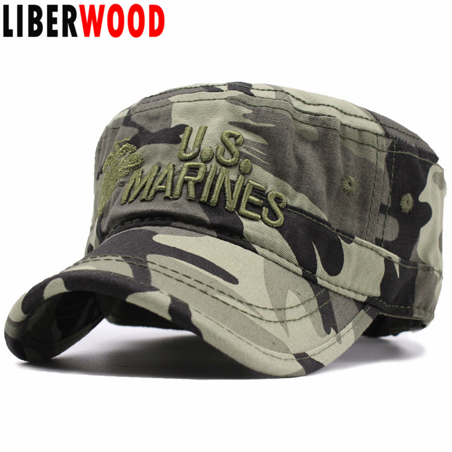 d680a44ea2fca LIBERWOOD United States US Marines Corps Cap Hat USMC Camouflage flat top  hat Men cotton hat