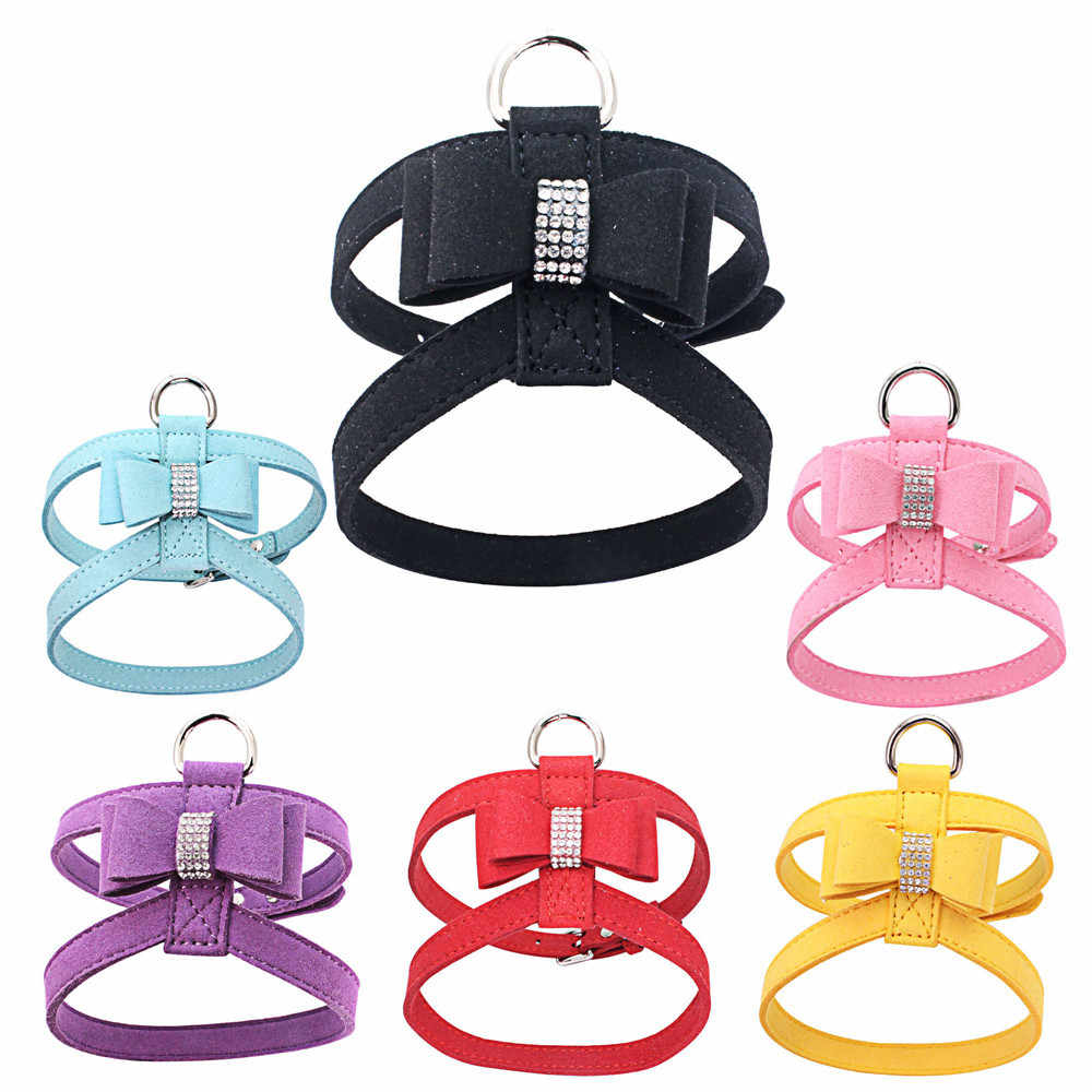 Transer Dog Carriers Bags Adjustable Pet Leads Bowknot Diamond Chest Straps Rhinestone+suede Personalized Drop Shipping Aug3 P40