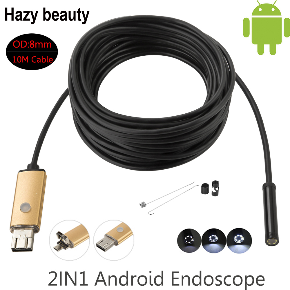 Hazy beauty 8mm Len Waterproof Endoscope Android Camera 10M Cable  USB Android Endoscope Camera Snake Pipe Inspection Borescope hazy beauty usb android endoscope 8mm 5m length endoscope 2m hd inspection snake camera waterproof snake pipe borescope cam