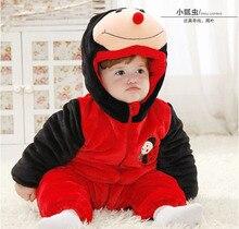 Alta calidad de la Franela de la Mariquita Modelado de Dibujos Animados Ropa de Bebé. abejas de Subida de la Ropa Encantadora Animal Sleepsuit Pijamas Traje Cosplay(China)