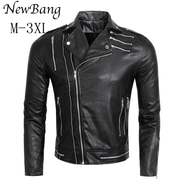 Men Motorcycle PU Leather Jacket Black Faux Leather Jacket Big Size  Coats