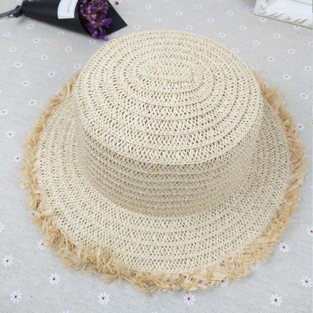 d29fa07860131f Fashion casual ladies straw flat top cap sun hat beach tourism big hats  grass preparation women beach sun hats free shiping sale