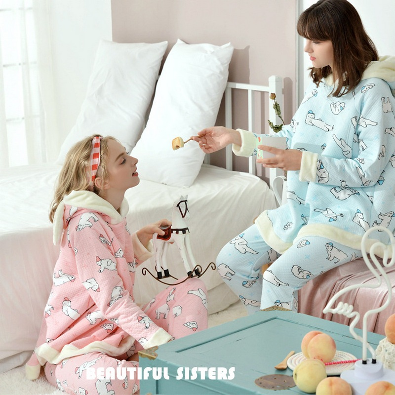 Maternity Pajamas Autumn Winter Air Cotton Thickened Nursing Pyjama Breastfeeding Pajamas Cute Pregnant Sleepwear Homewear A269 in Sleep Lounge from Mother Kids