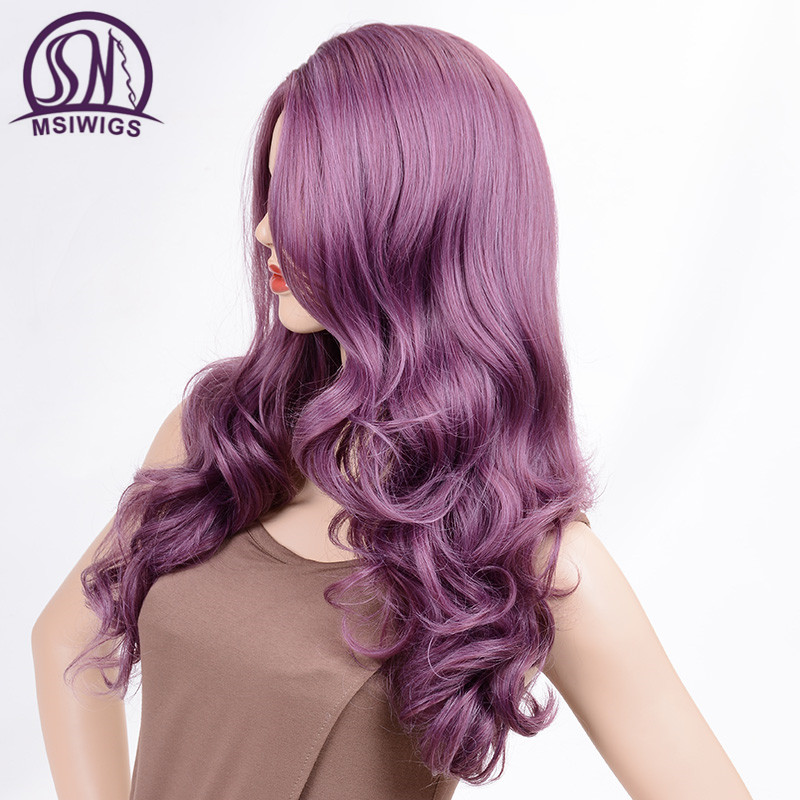 Image 3 - MSIWIGS Wavy Wigs Purple Hair Long Synthetic Wig for Women Side Parting Cosplay Hair Wig High Temperature FiberSynthetic None-Lace  Wigs   -
