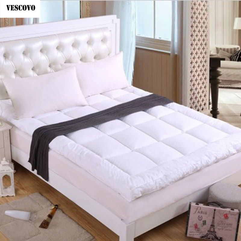 new bed white beige gray pink thickening folding luxury goose down mattress topper 100 cotton