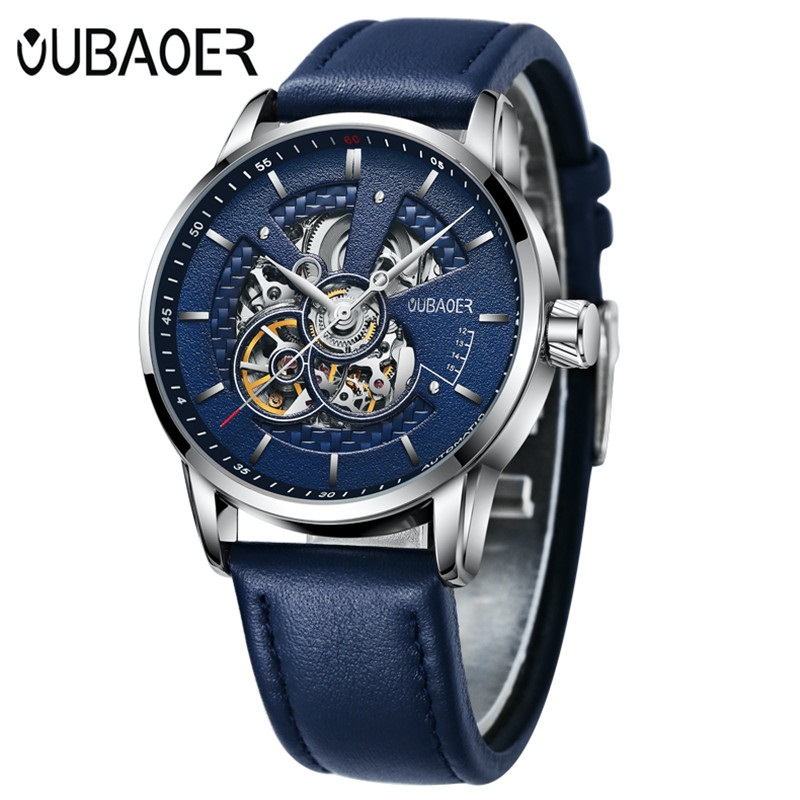 Oubaoer classic tourbillon skeleton automatic mens watches top brand luxury 2017 mechanical for Classic skeleton watch