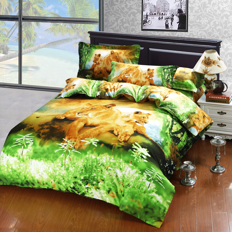 3d animal print lion bedding set queen size bedclothes duvet cover pillow case bedsheets 100 cotton printed fabric bedroom setin bedding sets from home