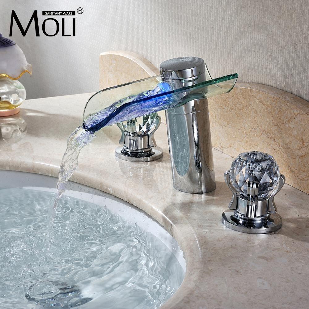 Светодиодные Водопад кран стекла водопроводной воды кристалл ручка ванной кран