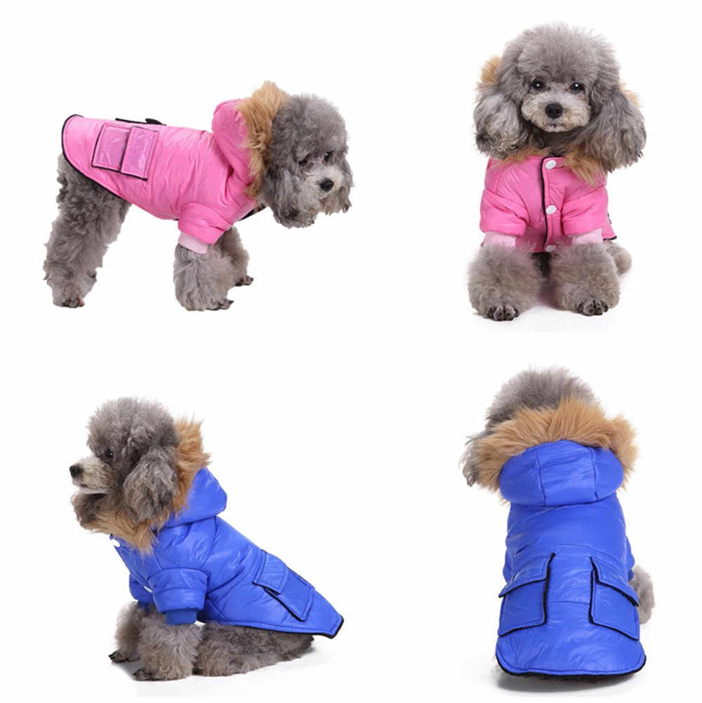 33b7ed35 Pet Dog Cat Clothing Winter Warm ClothingCostume Jacket Coat Apparel With  Pockets And Hat Pet clothing