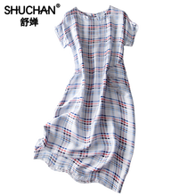 Shuchan Plaid Straight Dress O-Neck Casual Dress for Work Summer Dresses for Obese Women Retro Tank Dresses A0607