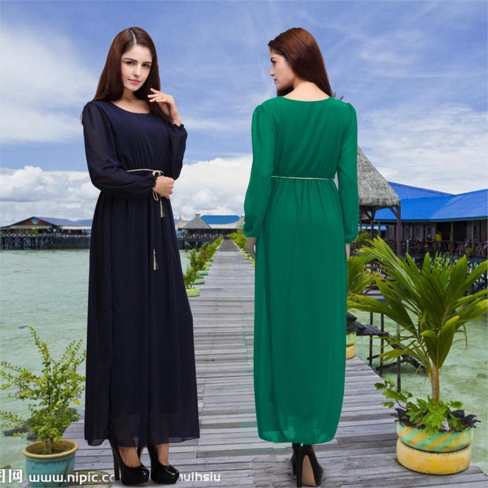 Black dress indonesia - Muslim Women In The Middle East Arab Robes Export Sleeved Dress Female Gown Indonesia Stock