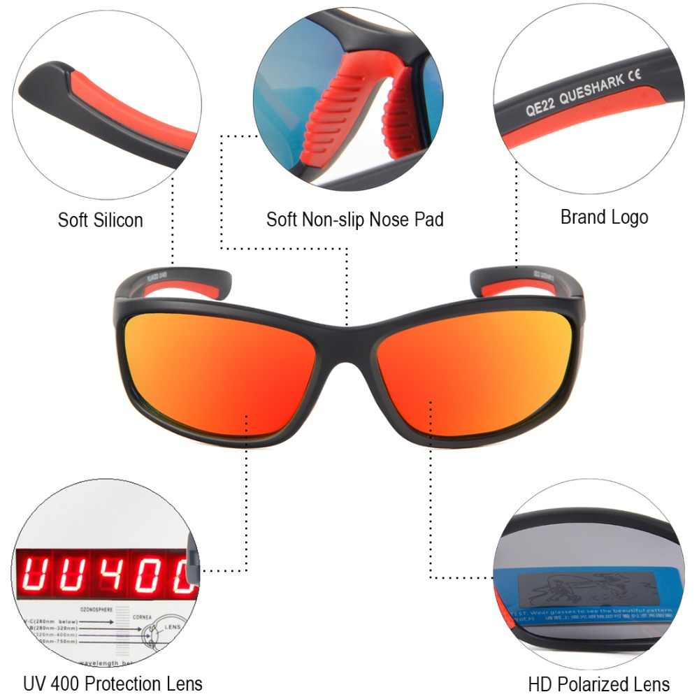 435467d23ff ... QUESHARK UV400 Men Polarized Fishing Sunglasses Fisherman Camping Hiking  Ski Goggles Bike Cycling Glasses Sport Fishing ...