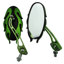 Universal motorcycle mirrors 10MM bike/motorbike rear view side pair green