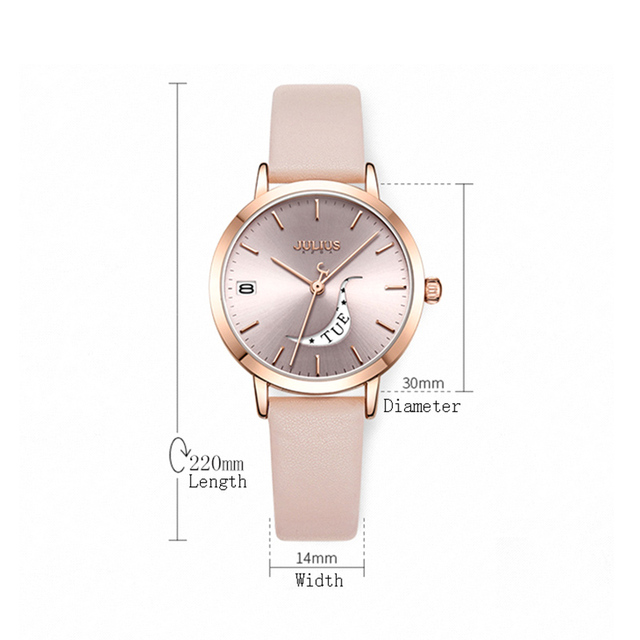 Julius Watches Women Quartz Bracelet Watches Ladies Leather Dress Wrist Watches Auto Day Date Female Clock Relogio Feminino