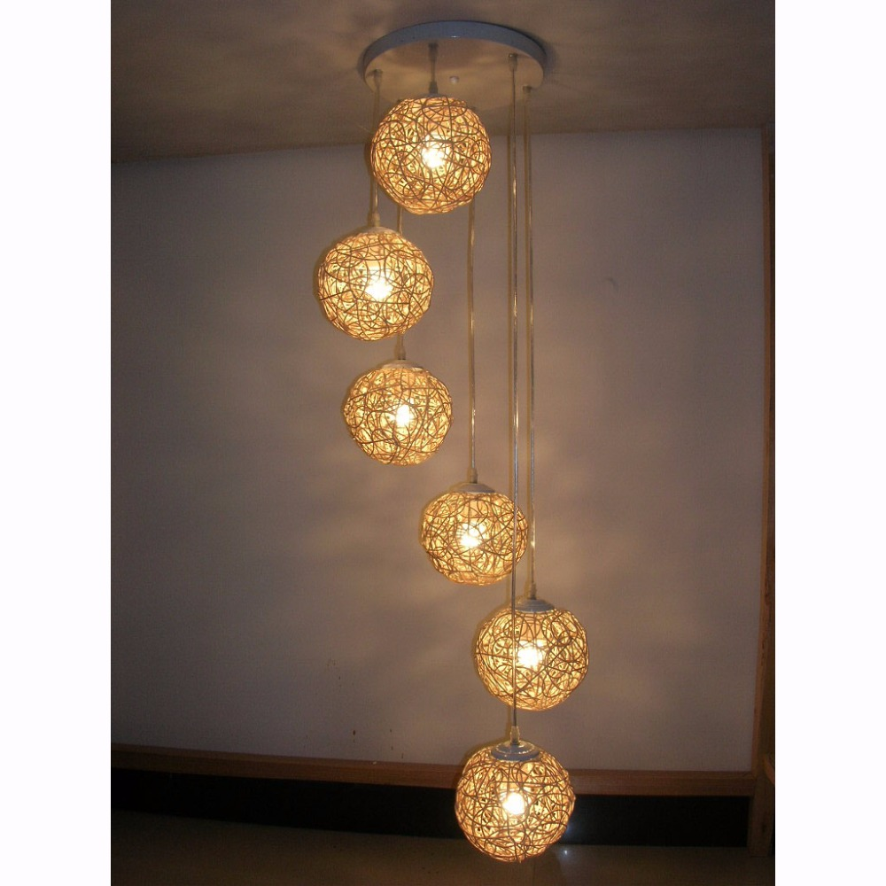 pendant lamp for bedroom. 6 light natural rattan woven ball pendant free shipping living room lamp bedroom hallway gallery lighting-in lights from for