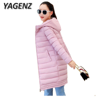 Winter Women Jacket Coats 2018 Fashion Slim Medium Long Down Cotton Hooded Overcoat Thick Warm Jacket