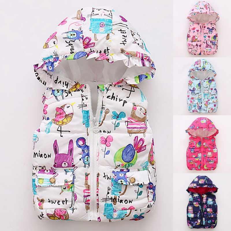 Otoño Invierno Caliente niños chalecos Niñas Ropa de dibujos animados niños sin mangas chaquetas con capucha Parkas chaleco bebé algodón abrigos