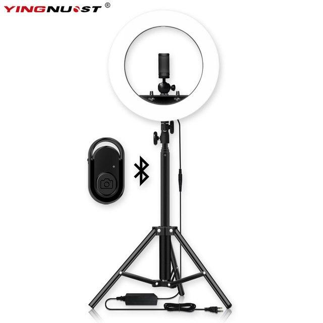 عكس الضوء Selfie LED مصباح مصمم على شكل حلقة 14 التصوير الدائري مصباح مع ترايبود 1.6 متر ل ماكياج الجمال استوديو الصور الإضاءة تيار مباشر