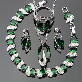 Natural Green Stones Jewelry Sets