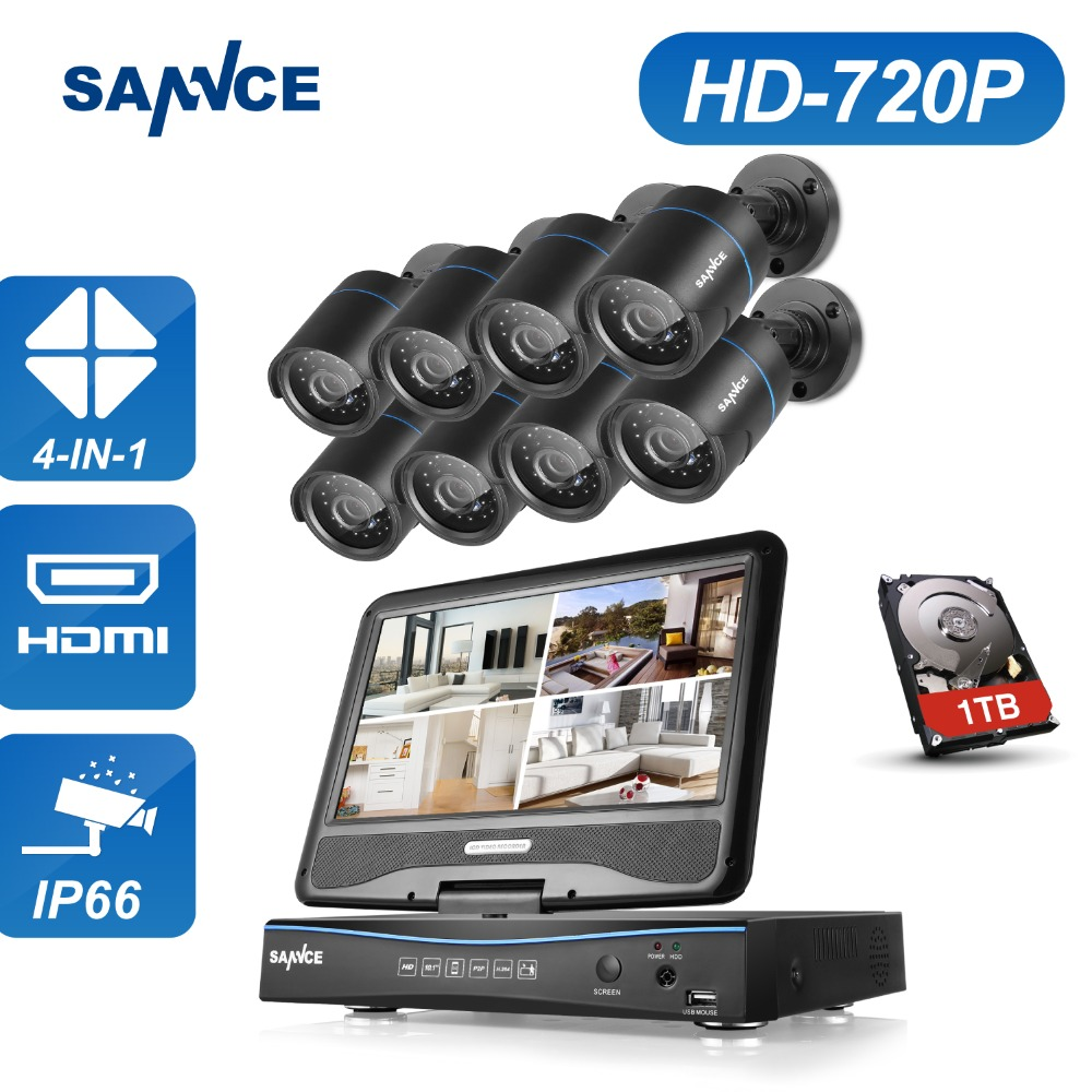SANNCE 8CH 720P CCTV Camera Security System Kit Build-in 10.1 LCD Monitor 8pcs 1.0MP Weatherproof Home Surveillance Cameras KitSANNCE 8CH 720P CCTV Camera Security System Kit Build-in 10.1 LCD Monitor 8pcs 1.0MP Weatherproof Home Surveillance Cameras Kit