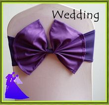 Hot sale !! Hot Sale !! 100pcs wedding Purple Chair Cover Sash & bows for chairs For hotel Decor Free shipping