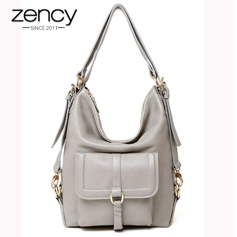 Zency Fashion Women Shoulder Bag 100% Genuine Leather Large Capacity Handbag Multifunction Use Satchel Crossbody Messenger Purse p kuone men s clutch wallet luxury shining oil wax cowhide men clutch bag man long genuine leather wallets male coin purse bags