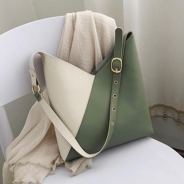 Splicing Contrast Bucket Shoulder Bag