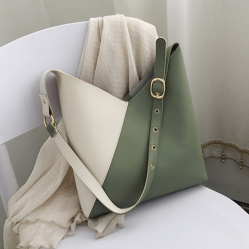 Splicing Contrast PU Leather Bucket Bags For Women 2019 Summer Crossbody Bags Lady Shoulder Messenger Bag Female Travel Handbags