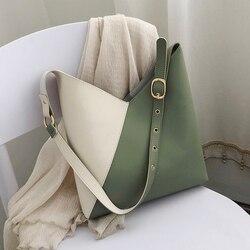 Splicing contraste de couro do plutônio balde sacos para as mulheres 2019 verão crossbody sacos senhora ombro mensageiro bolsa feminina bolsas viagem