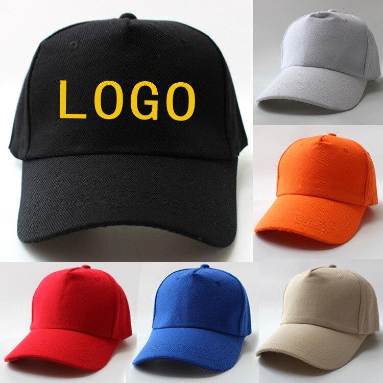 Custom   baseball     cap   print logo text photo embroidery casual solid hats pure color black   cap   velcro for men women   baseball     cap