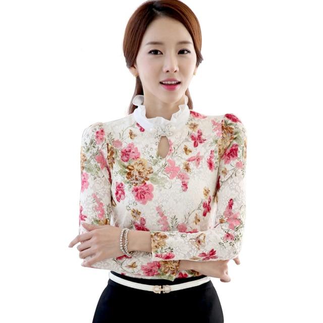Ladies Tops Long Sleeve Shirt Women Blouses 2016 New Fashion Elegant Floral Print Lace Blouse Beaded Korean Fashion Clothing