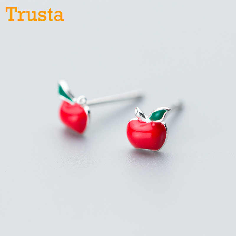 Trusta 100% 925 Sterling Silver Fashion Cute Tiny Symmetry 5mmX5mm Red Apple Stud Earrings Gift For School Girls Kids Lady DS605