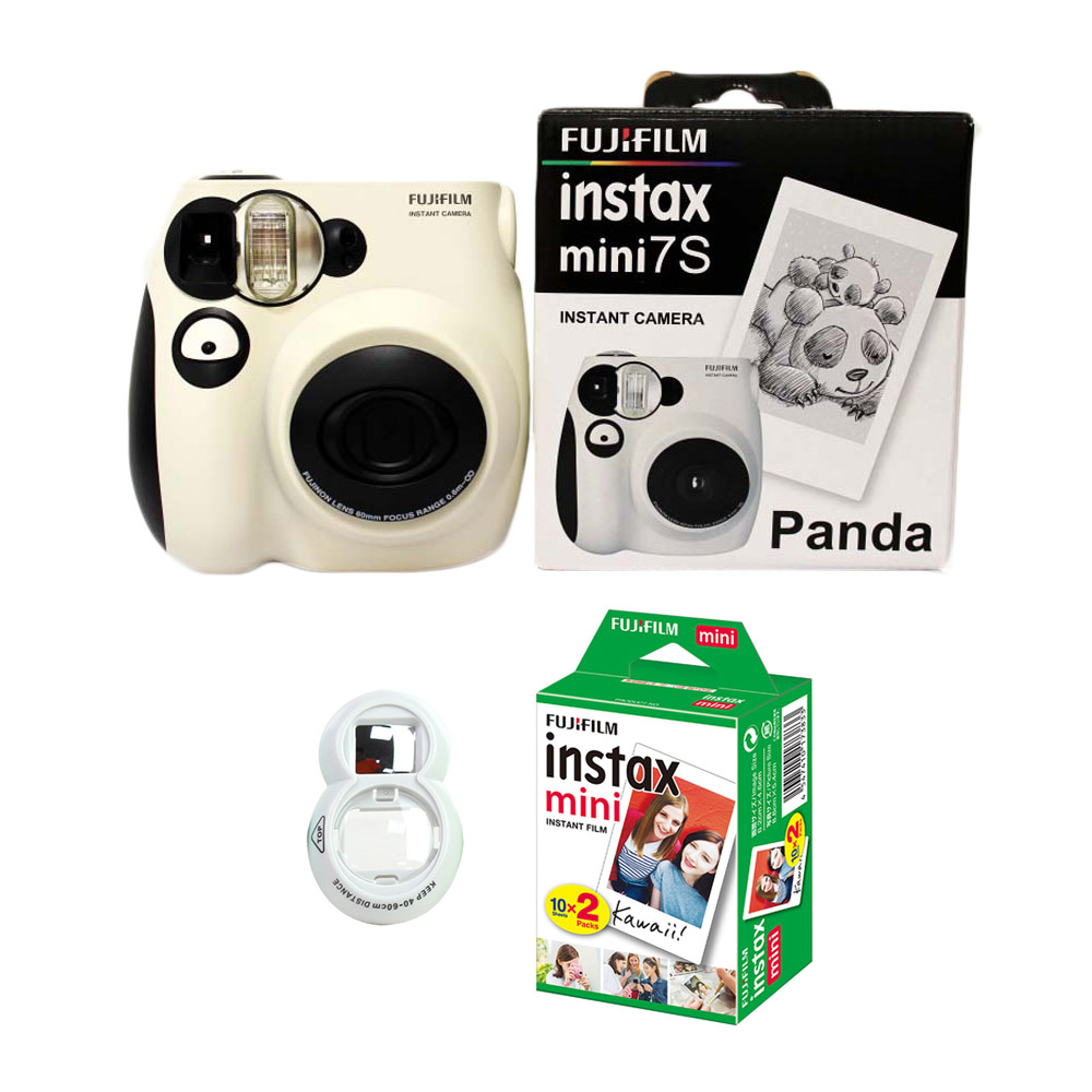 100% Authentic Fujifilm Instax Mini 7s Instant Photo Film Camera, with 20 Sheets Fuji Instax Mini White Film and Selfie Lens authentic xiaomi instant me 100
