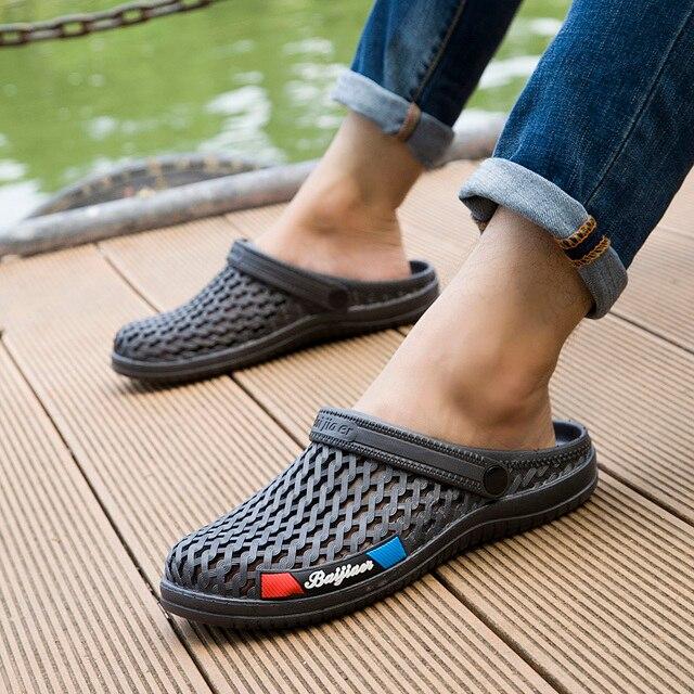 9a2aa06fc Men Water Sandals Summer Slippers Lightweight Croc Beach Fashion 2018  Casual Flat Slip On Flip Flops Aqua Classic Garden Shoes