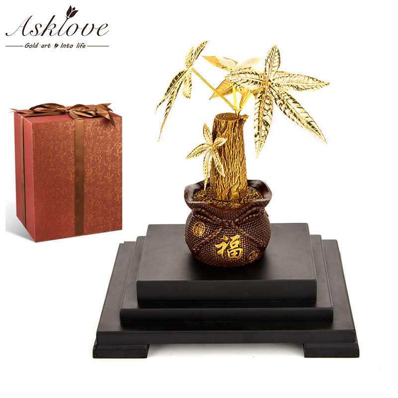 Asklove Gold Bonsai Artificial plant Feng shui Money tree Ornament 24k Gold foil Ornaments Fortune tree Gifts Home Decor Crafts