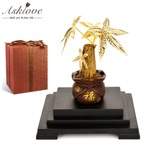Asklove Gold Bonsai Artificial plant Feng shui Money tree Ornament 24k foil Ornaments Fortune Gifts Home Decor Crafts