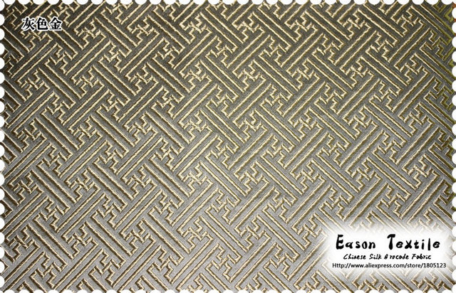 Chinese Silk Brocade Fabric Cushion Popular Fashion Grey Background With  Gold Lattice For Dress, Table