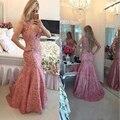 Elegantes Vestidos de Noite Sereia Sexy V Neck Sheer Voltar Lace Partido Prom Vestidos Custom Made CGOO7