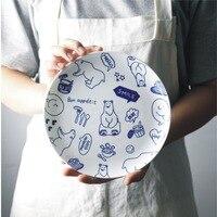 2pcs Set 8 Inch Ceramic Dinner Plate Polar Bear Animal Dinner Dishes Fine Bone China Dinnerware