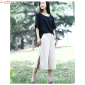 Women Original Calf-Length Loose Wide Leg Pants Large Size Sides Split Casual Slacks