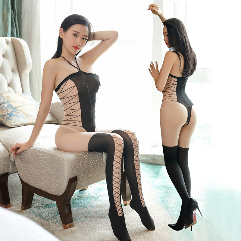 2018 Sexy Sheer Black And Nude Full Bodystocking Sexy Crotchless Lingerie For Women Hot Erotic Halter Style Open Cup Tights