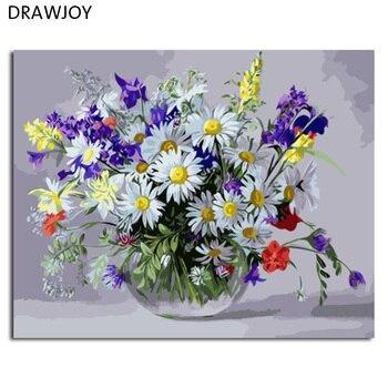DRAWJOY цветок оформлена картина DIY живопись по номерам живопись и Каллиграфия украшения дома для гостиная стены книги искусству >> DRAWJOY Official Store