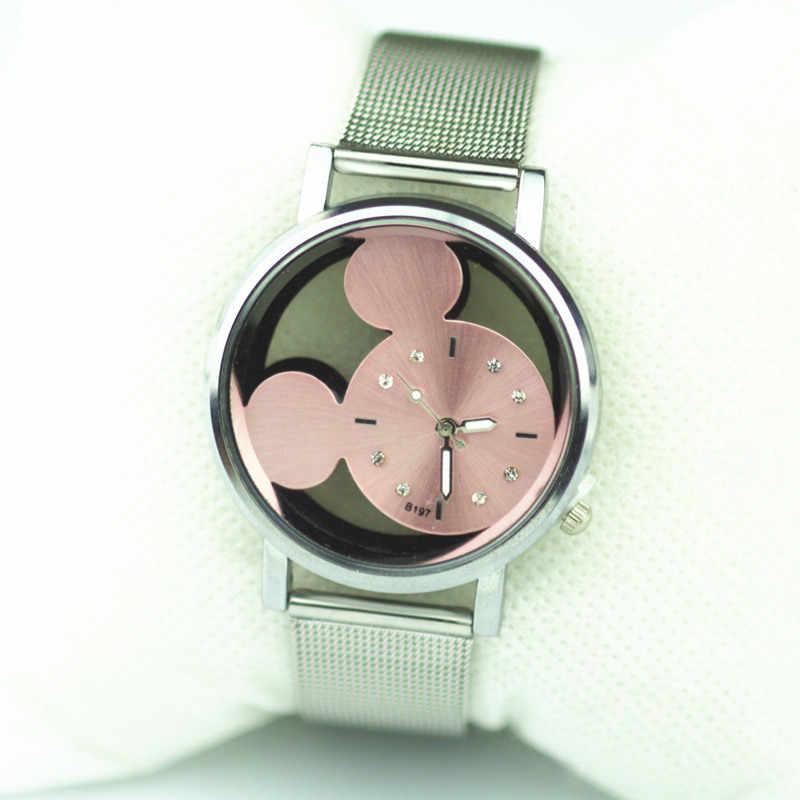 Новинка 2018, модные брендовые часы, полые с кристаллами, женские кварцевые часы с сеткой, женские наручные часы с Микки Маусом