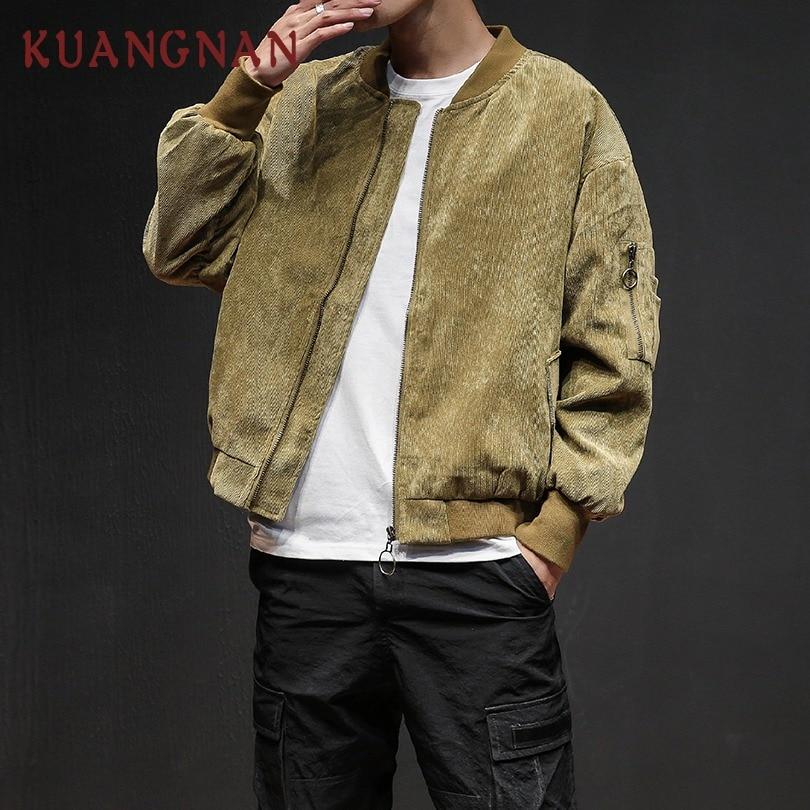 KUANGNAN Hip Hop Corduroy Men Jacket Coat Oversized Japanese Streetwear Men Jacket Coat Hiphop Windbreaker Jacket Men 2018