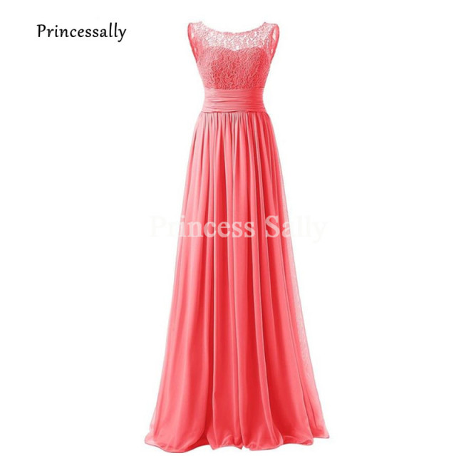 b27898bcc282 Coral Bridesmaid Dress Lace Neck Long Prom Dresses For Party Elegantes  Formal Occasion Dresses Robe Demoiselle D'honneur