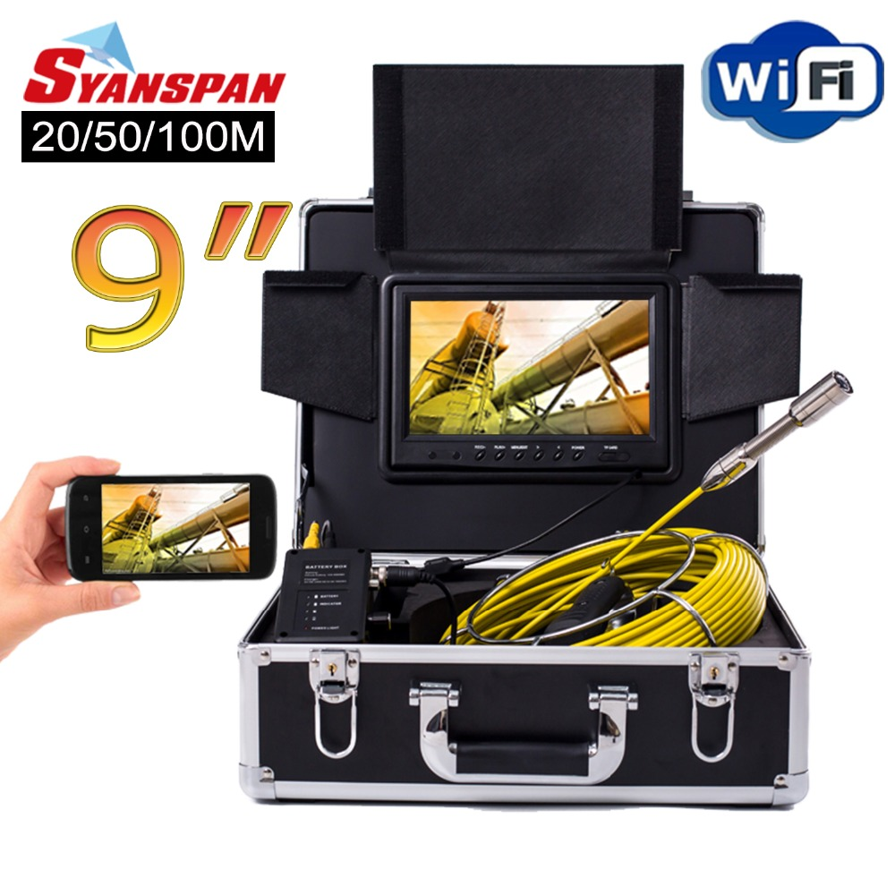 SYANSPAN 9 Wireless WiFi 20/50/100M Pipe Inspection Video Camera,Drain Sewer Pipeline Industrial Endoscope support Android/IOS dhl free wp90 50m industrial pipeline endoscope 6 5 17 23mm snake video camera 9 lcd sewer drain pipe inspection camera system