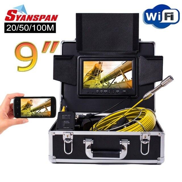 Syanspan câmera de vídeo de inspeção de tubulação, 9 polegadas, sem fio, wifi 20/50/100m endoscópio industrial pipeline dreno de esgoto suporte android/ios